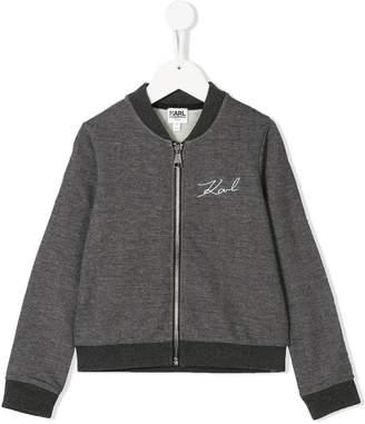 Karl Lagerfeld (カール ラガーフェルド) - Karl Lagerfeld Kids embroidered logo bomber jacket