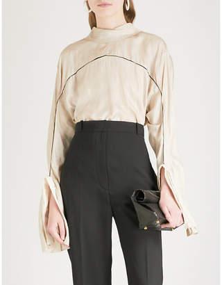 PHAEDO Contrast-piped silk shirt