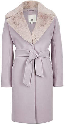 River Island Girls lilac belted faux fur belted coat