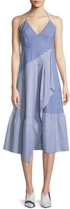 Tibi Collage Striped Halter Midi Dress