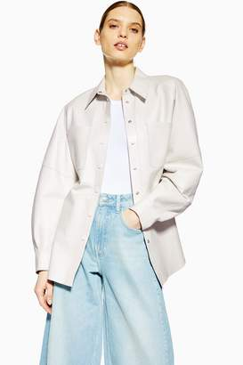 Topshop Womens **Ovoid Leather Shirt By Boutique - Off White