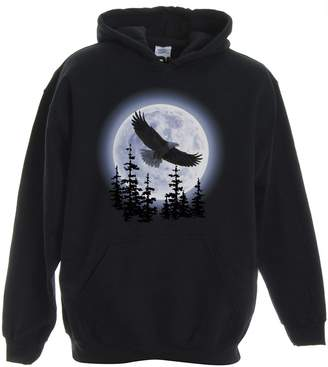 Express Yourself Shirts Yourself Adult Unisex Eagle Moon Pullover Hooded Sweatshirt ( - XL)