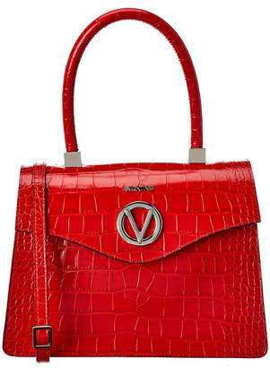 Mario Valentino Valentino By Melanie Top Handle Croc-Embossed Leather Satchel