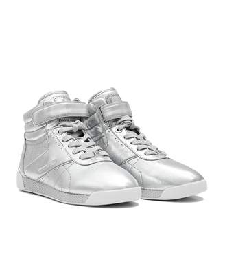 Michael Kors Addie Metallic Leather High Top Trainers Colour: SILVER,