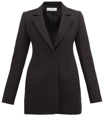 Marina Moscone - Single Breasted Longline Cotton Twill Blazer - Womens - Black