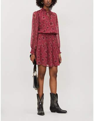 BA&SH Gizel leaf-print georgette mini dress