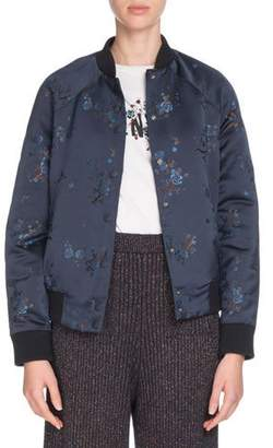 Kenzo Teddy Floral Snap-Front Bomber Jacket