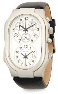 Philip Stein Teslar Stainless Steel Oval Leather-Strap Watch