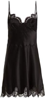 Carine Gilson Lace Trimmed Silk Satin Slip Dress - Womens - Black