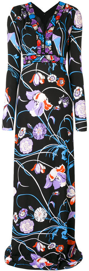 Emilio Pucci embroidered neck printed dress