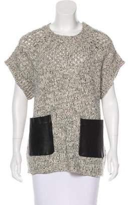 Thakoon Wool & Alpaca-Blend Leather-Accented Sweater