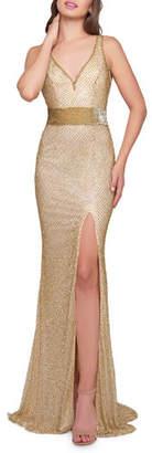 Mac Duggal V-Neck Sleeveless Beaded Gown w/ Thigh Slit