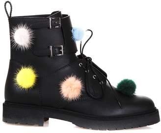 Fendi Leather Biker Boots With Multicoloured Fur Pompom