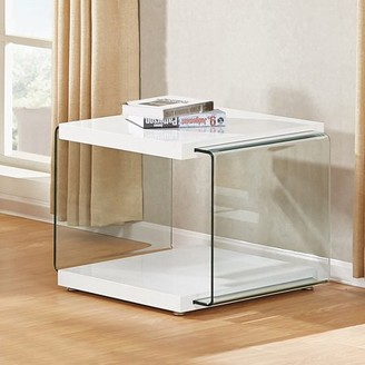 clear Best Quality Furniture Hight Gloss white Color End Table With Side Glass Supports CT114