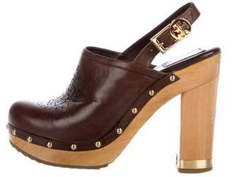 Tory Burch Leather Logo Clogs