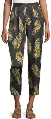 Giada Forte Desert Leaf-Print Satin Pants