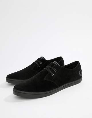 Fred Perry Byron low suede shoes in black