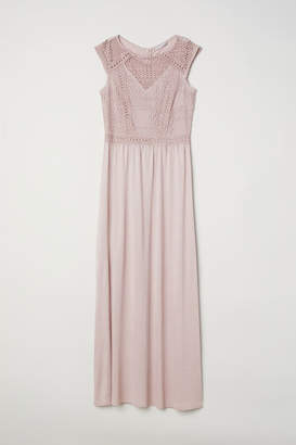 H&M Long Dress with Lace Bodice - Pink