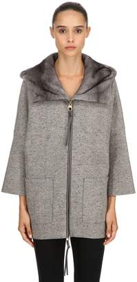 Agnona Hooded Mink Fur & Cashmere Short Coat