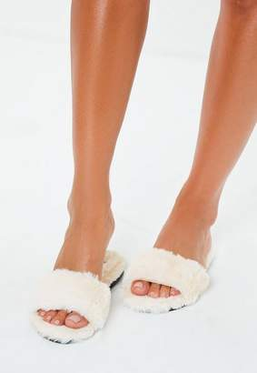 Missguided Nude All Over Faux Fur Slippers