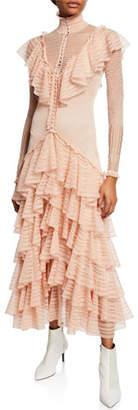 Alexander McQueen Long-Sleeve Tiered Engineered Lace Dress