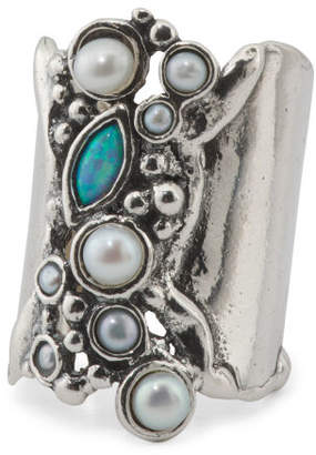 Made In Israel Sterling Silver Opal And Pearl Elongated Ring