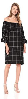 MSK Women's Off The Shoulder Plaid Puff Sleeve Dress with Pearl Details