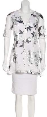 Lela Rose Floral Print Silk-Blend Tunic w/ Tags