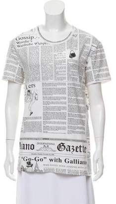 John Galliano Newspaper Printed T-Shirt White Newspaper Printed T-Shirt