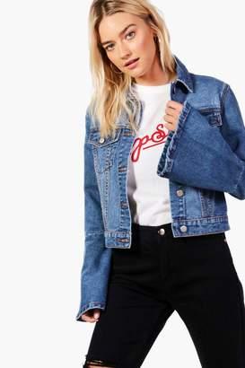 boohoo Flo Flute Sleeve Cropped Slim Fit Denim Jacket
