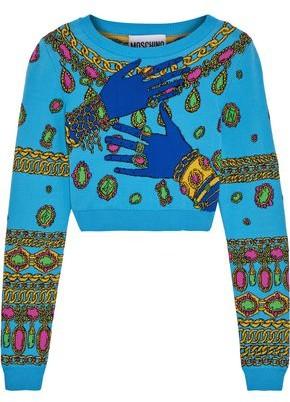 Moschino Cropped Cotton-Jacquard Sweater