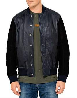 Armani Exchange Lamb Leather & Suede Bomber Jacket