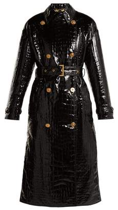 Versace Baroque Print Lined Crocodile Effect Coat - Womens - Black