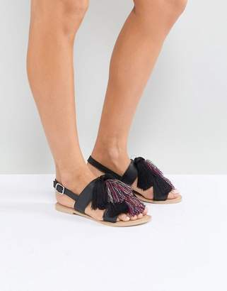 Asos FAVOR Leather Tassel Flat Sandals