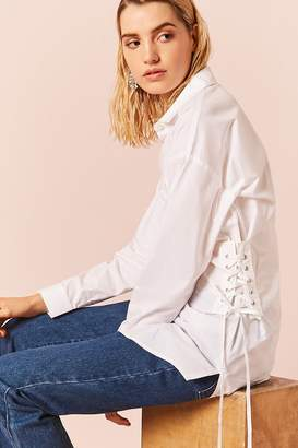 Forever 21 Lace-Up Button Down Shirt