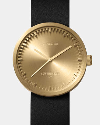 Tube Watch D38 Brass with Black Leather Strap
