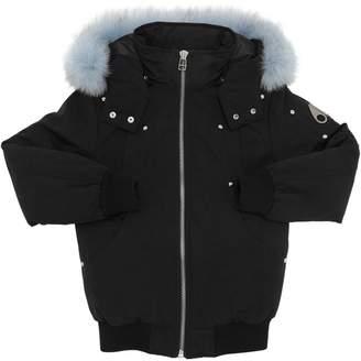 Moose Knuckles Nylon Down Bomber Jacket W/ Fox Fur