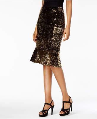 Thalia Sodi Sequined Flare-Hem Skirt