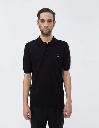 512d1869 Fred Perry Miles Kane Textured Panel Knit Polo Shirt in Black