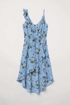 H&M Creped Wrap-front Dress - Blue