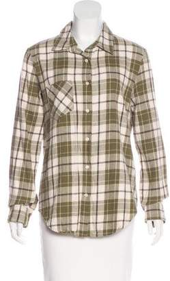 Anine Bing Plaid Button-Up Top