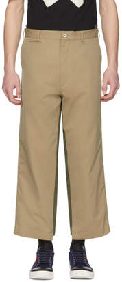 Alexander McQueen Beige and Khaki Two-Tone Trousers