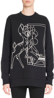 Givenchy Bambi® Long Crewneck Sweatshirt, Black $890 thestylecure.com