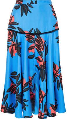 Roksanda Oni Printed Silk Midi Skirt - Azure