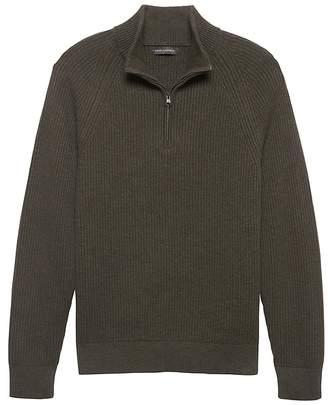 Banana Republic Heritage Cotton Ribbed Half-Zip Sweater