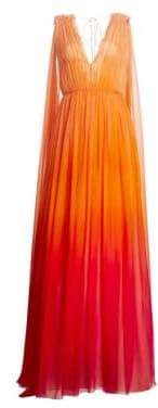 Alberta Ferretti Sleeveless Degrade Silk Gown