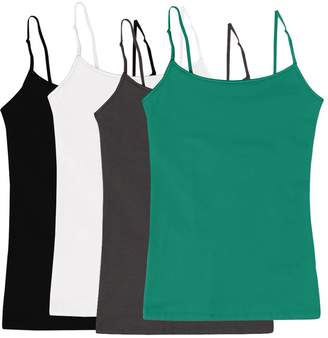 Simlu Women's Camisole Built-in Shelf Bra Adjustable Spaghetti Straps Tank Top Pack 4 Pk Black White Charcoal S Teal