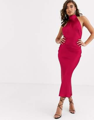 Pretty Lavish backless halter neck dress in deep pink satin