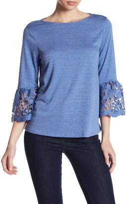 Cable & Gauge 3/4 Length Lace Sleeve Shirt