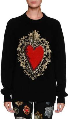 Dolce & Gabbana Long-Sleeve Oversized Wool-Blend Sweater w/ Heart Print